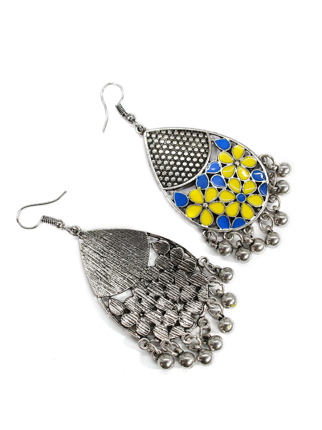 Aana Oxidised Silver Plated Leaf Design Yellow And Blue Color Earring