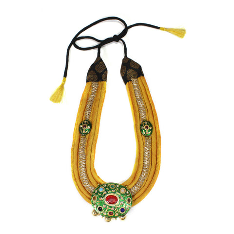 Hand Crafted Cotton Silk With Kundan Centre Piece Necklace