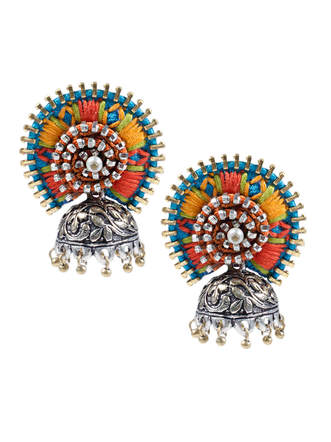 Turquoise Orange Dual Tone Jodha Earring