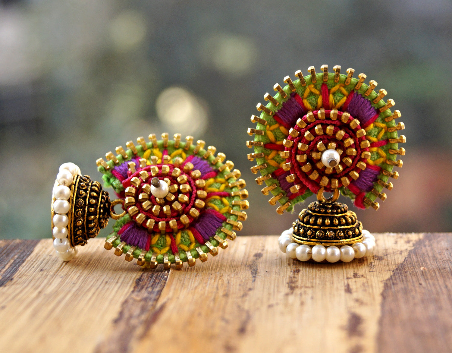 Green And Purple Colour Jodha Earring