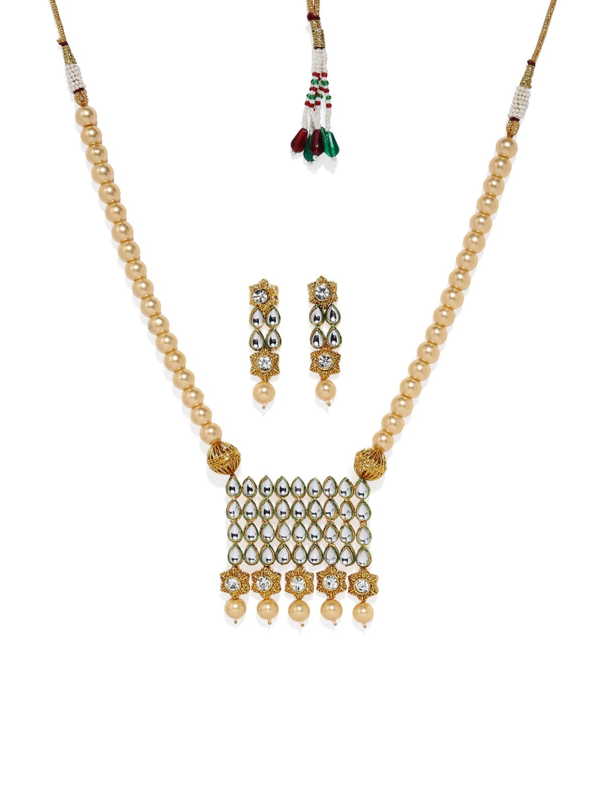 Gold Tone Traditional Kundan And  Moti Mala Necklace Set