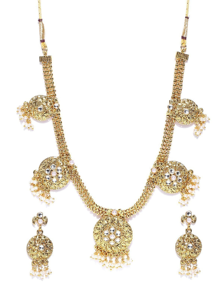 Zaveri Pearls Gold Tone Traditional Pearls Drop Necklace Set