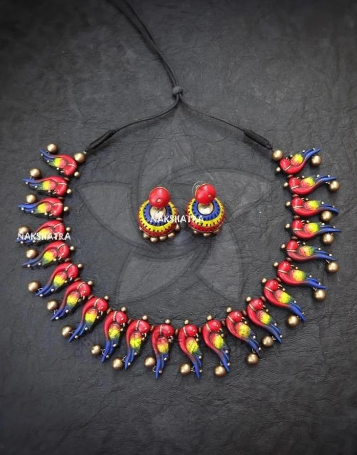 Antique Gold Color Peacock Design Choker Necklace Set By Nakshatra Terracotta-NAKSHATRA1-Necklace Set