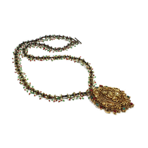 Semi Precious beads Marwari Necklace with Lakshmi Design Pendant