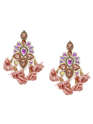Zaveri Pearls Gold Tone Crystal Shine Stones Studded Dangle Earring