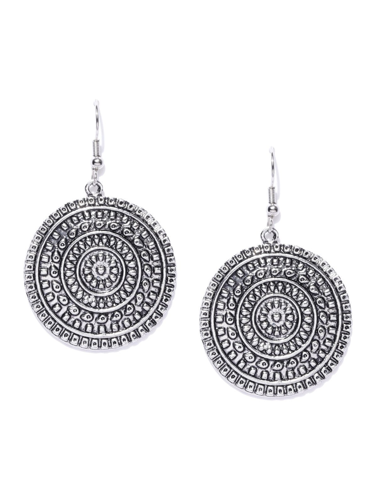Zaveri Pearls Antique Silver Tone Circular Drop Earring