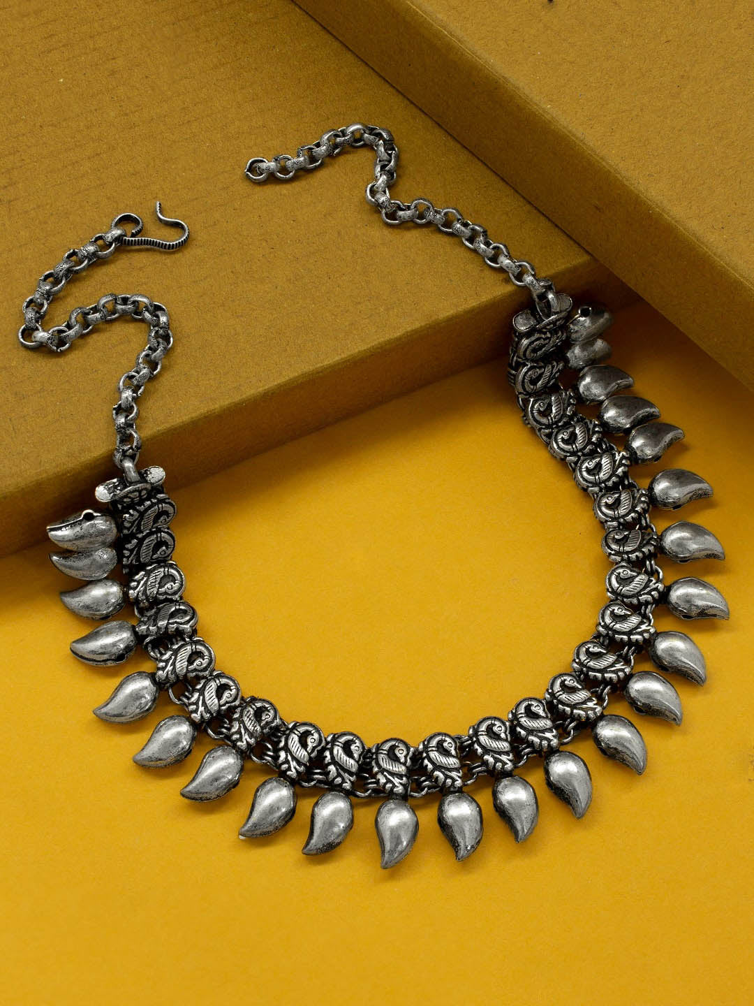Oxidized German Silver Peacock Design With Mango Shape Design Motifs Choker Necklace-OXIDIZED-Necklace