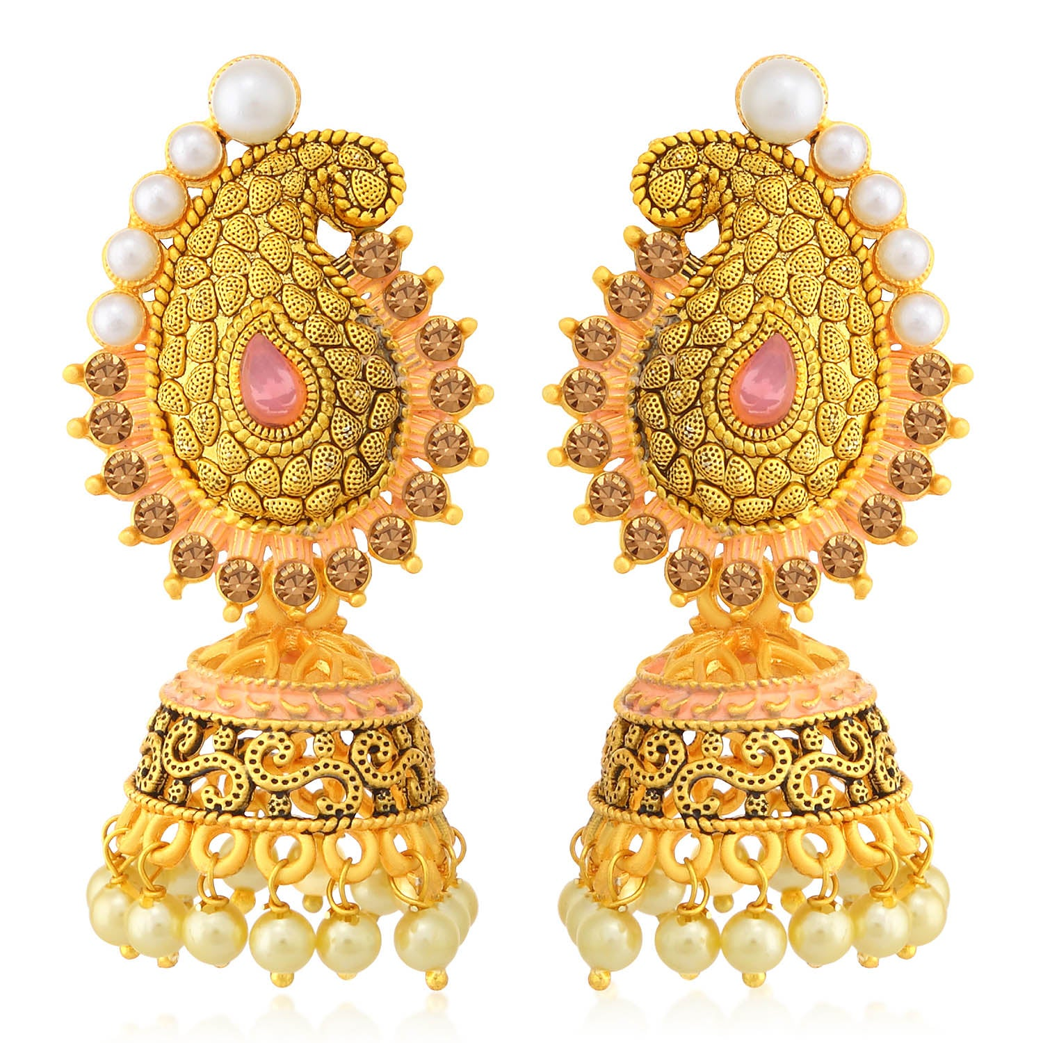 Sukkhi Adorable LCT Stone Gold Plated Paisley Pearl Pink Mint Meena Collection Jhumki Earring For Women-SUKKHI1-Earring