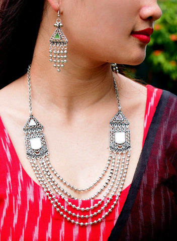 Oxidized Metal Navaratri Multi Layered Necklace Set