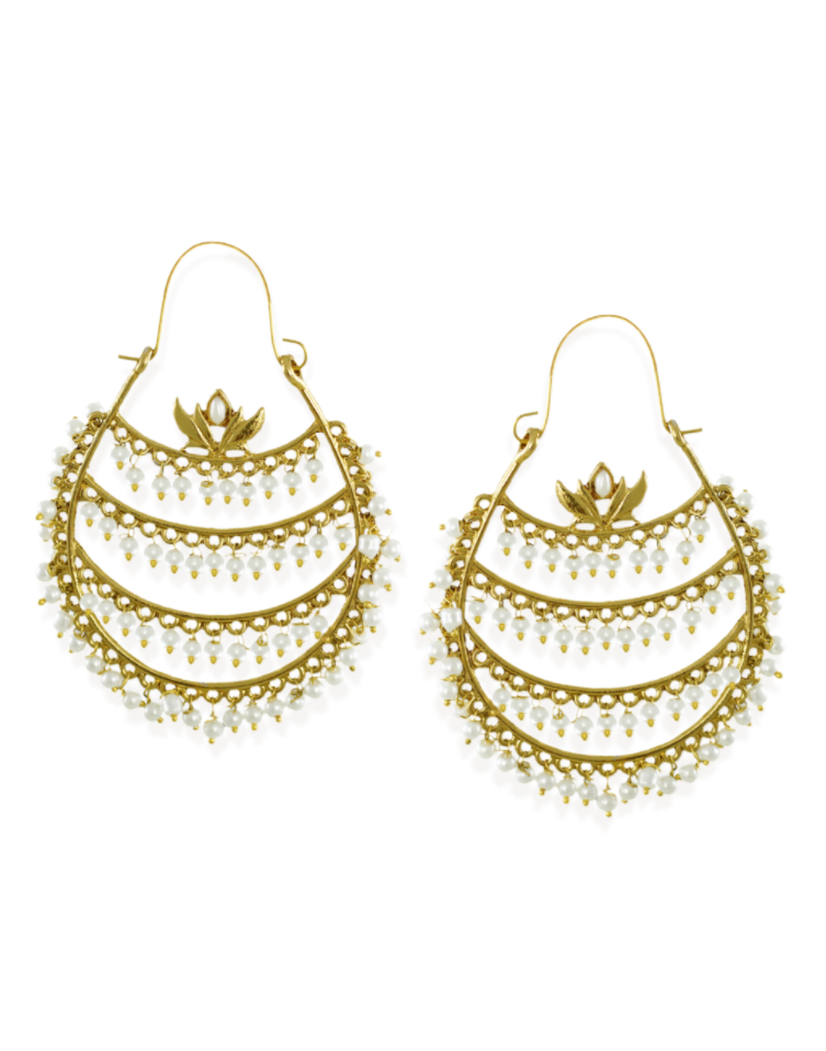 Zaveri Pearls Multi Layered Pearl Drops Hoop Earring