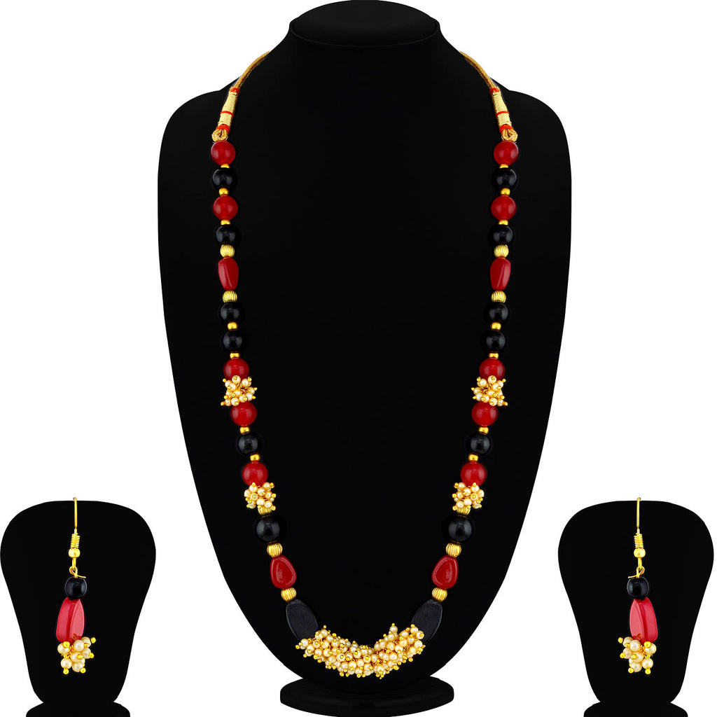 Sukkhi Glorious Gold Plated Pearl Long Haram Necklace Set For Women-SUKKHI1-Necklace Set