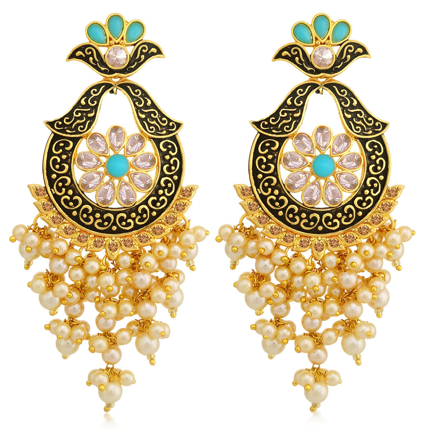 Sukkhi Precious LCT Stone Gold Plated Pearl Meenakari Chandelier Earring For Women-SUKKHI1-Earring