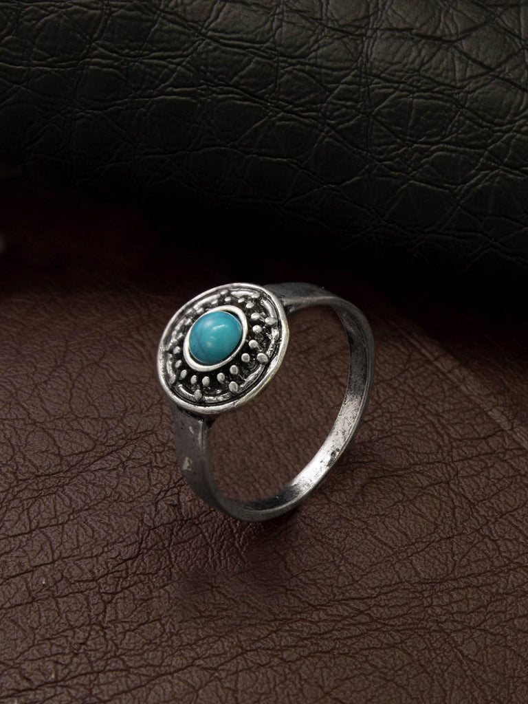 Aana Oxidised Silver Plated Geometric Design Turquoise Blue Color Stone Finger Ring-AANA-Finger Ring