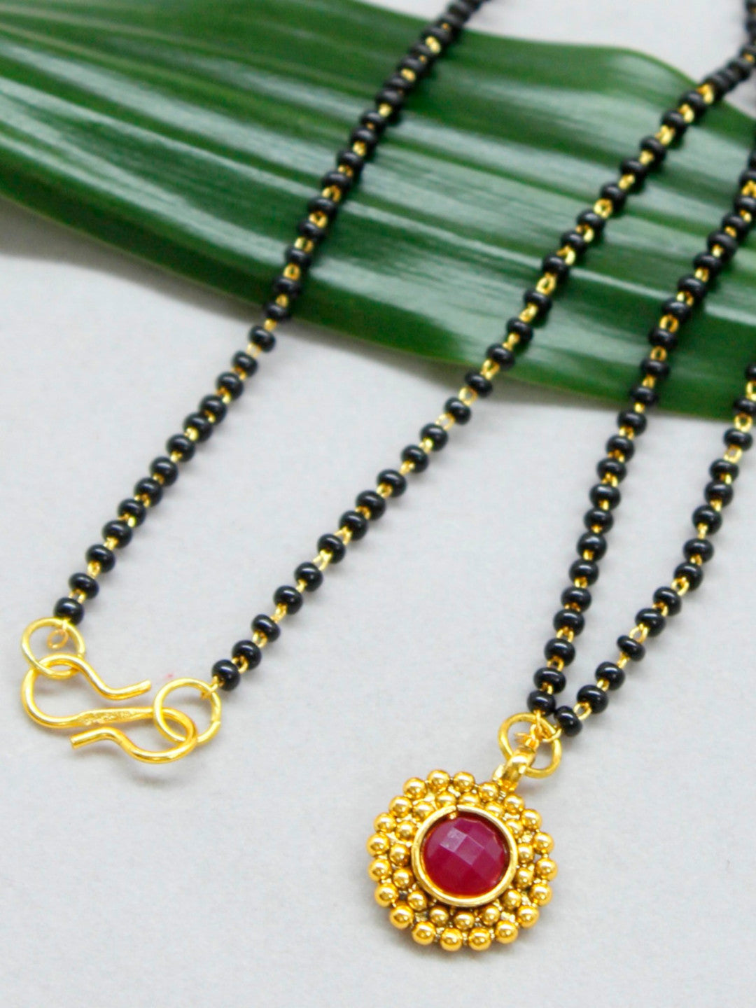 Traditional Jewelry Mangalsutra Beads Necklace With Red Stone Pendant-AVISMAYA1-Necklace Set