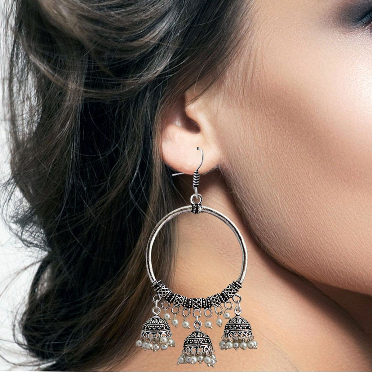 Traditional German Silver Plated Oxidized Big Bali 3 Line Dropping Jhumka Earring