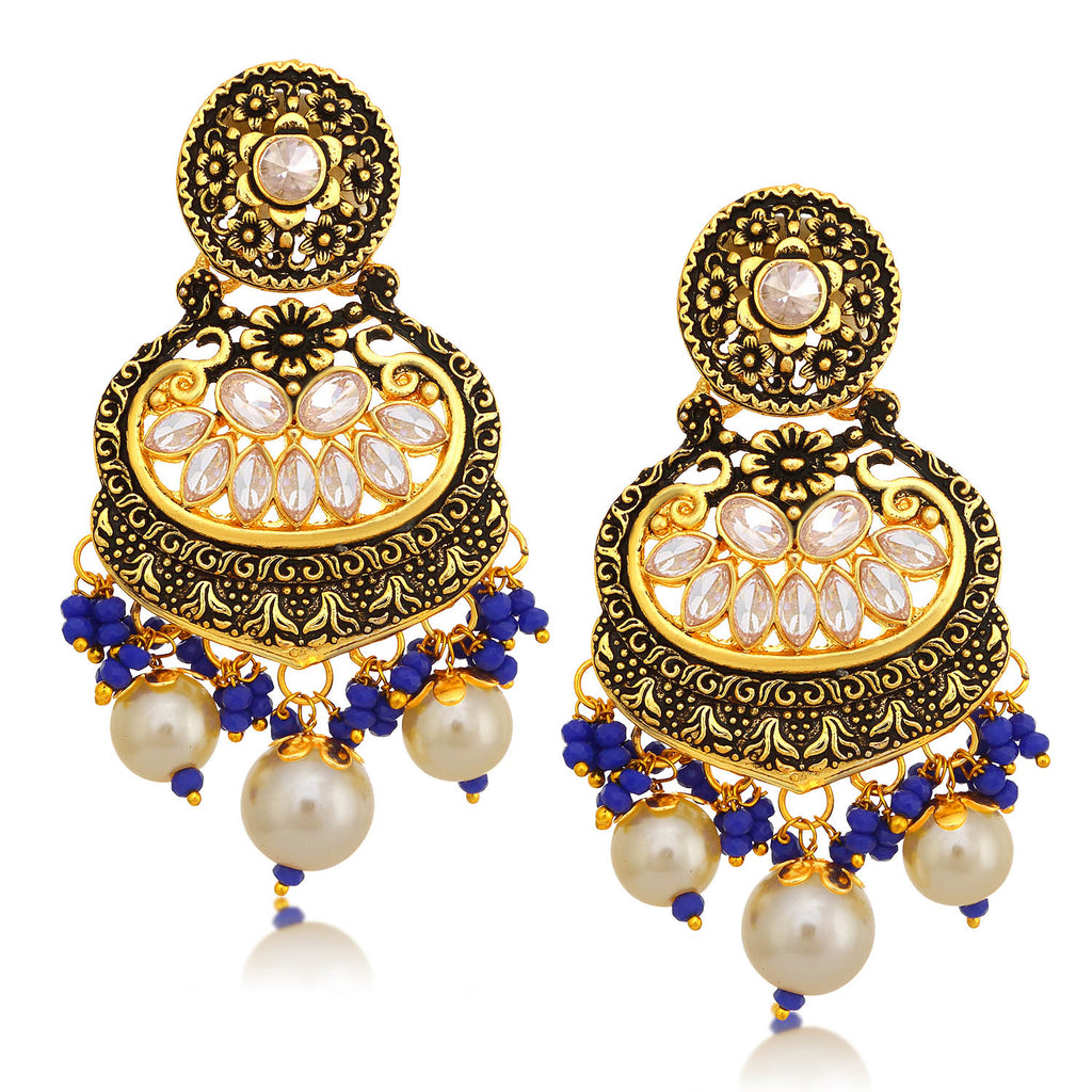 Sukkhi Blossomy LCT Stone Floral Gold Plated Pearl Chandelier Earring For Women-SUKKHI1-Earring