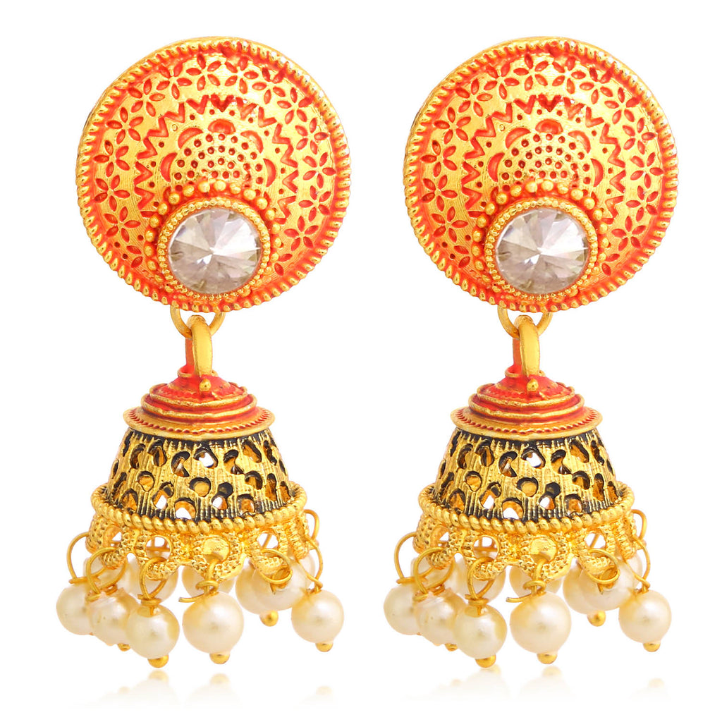 Sukkhi Classy Gold Plated Pearl Red Mint Meena Collection Jhumki Earring For Women-SUKKHI1-Earring