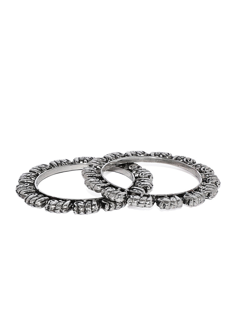 Zaveri Pearls Elephant Design Silver Tone Bangle Set