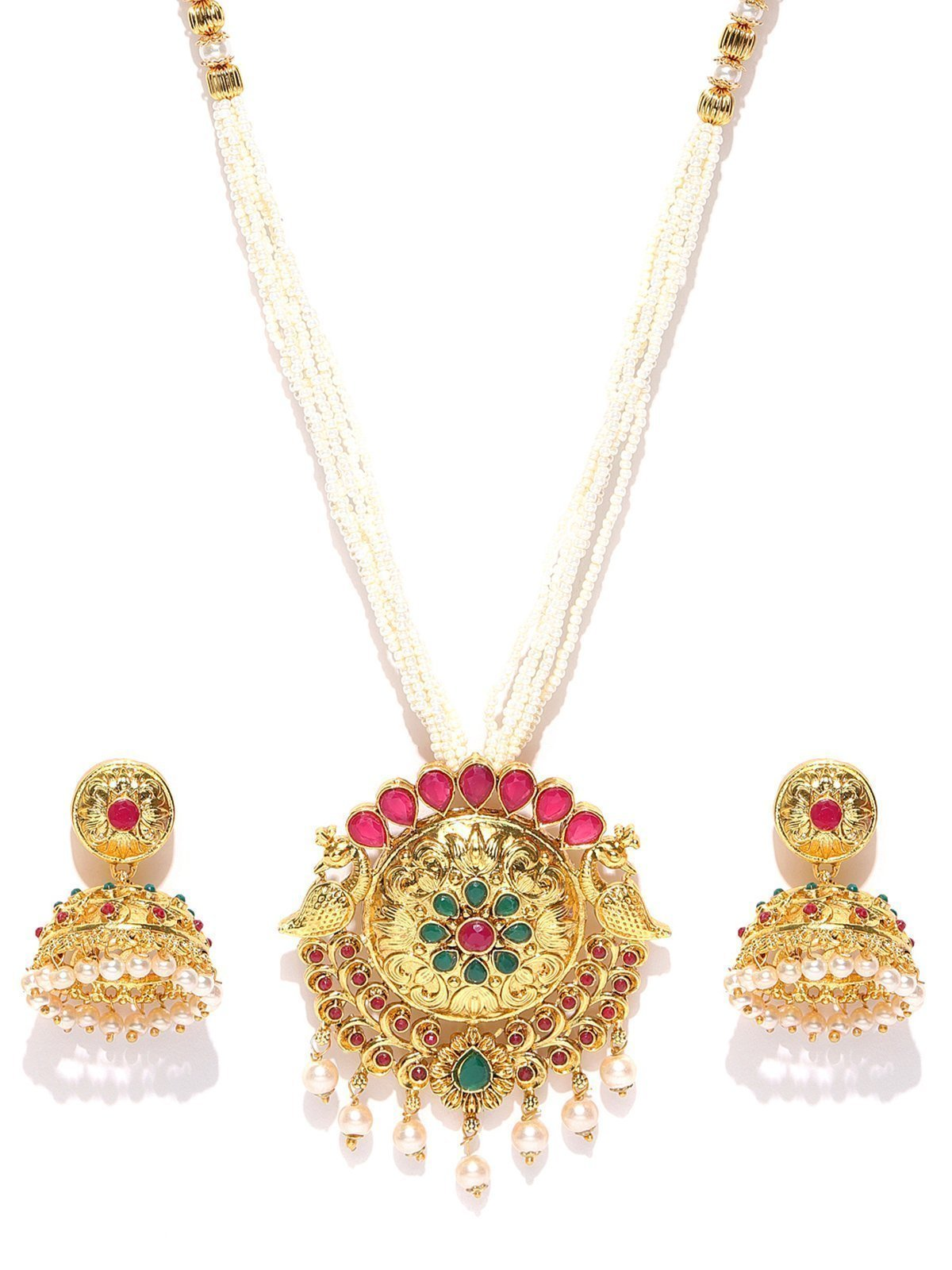 Zaveri Pearls Peacock Inspired Moti Mala Necklace Set