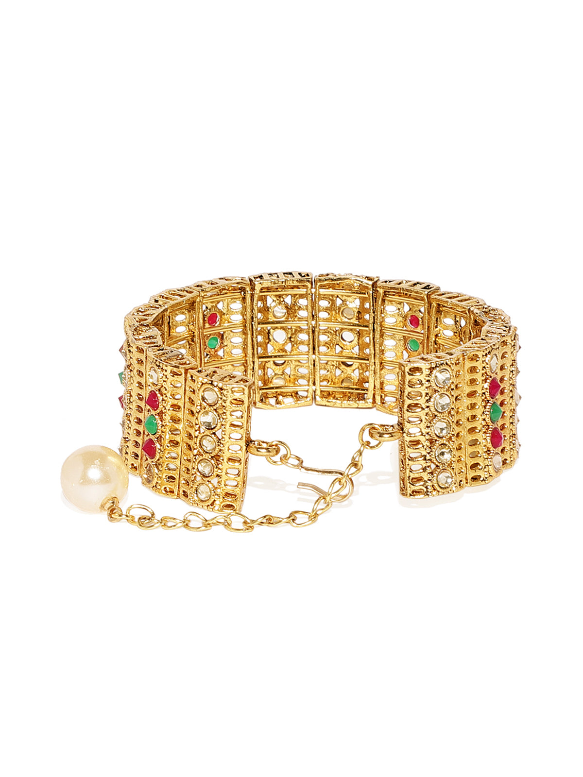 Zaveri Pearls Gold Tone Ethnic Cuff Style Adjustable Bracelet