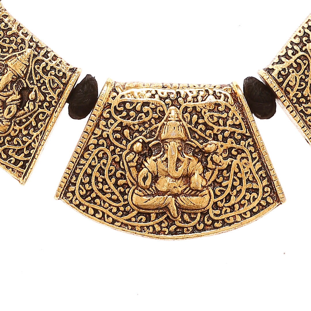 Tribal Temple Jewelry Ganesha Design Gold Plated Choker Necklace By Imli Street-IMLI STREET-Necklace