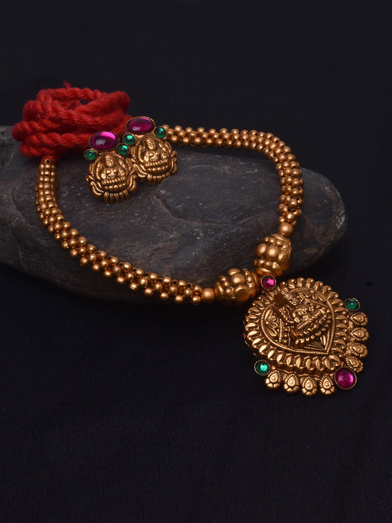 Avismaya Temple Jewellery Matt Gold Antique Finish Lakshmi Design Necklace Set-AVISMAYA1-Necklace Set