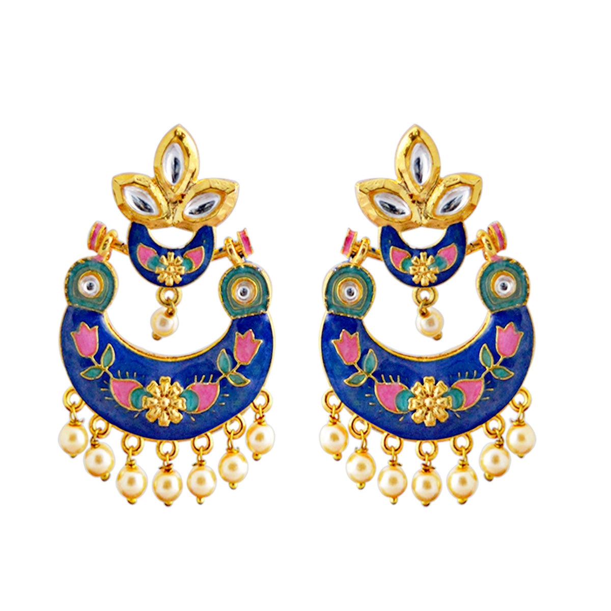 Mk Jewellers Pink And Blue Color Meenakari Floral Design With Kundan Dangler Earring-MK JEWELLERS1-Earring