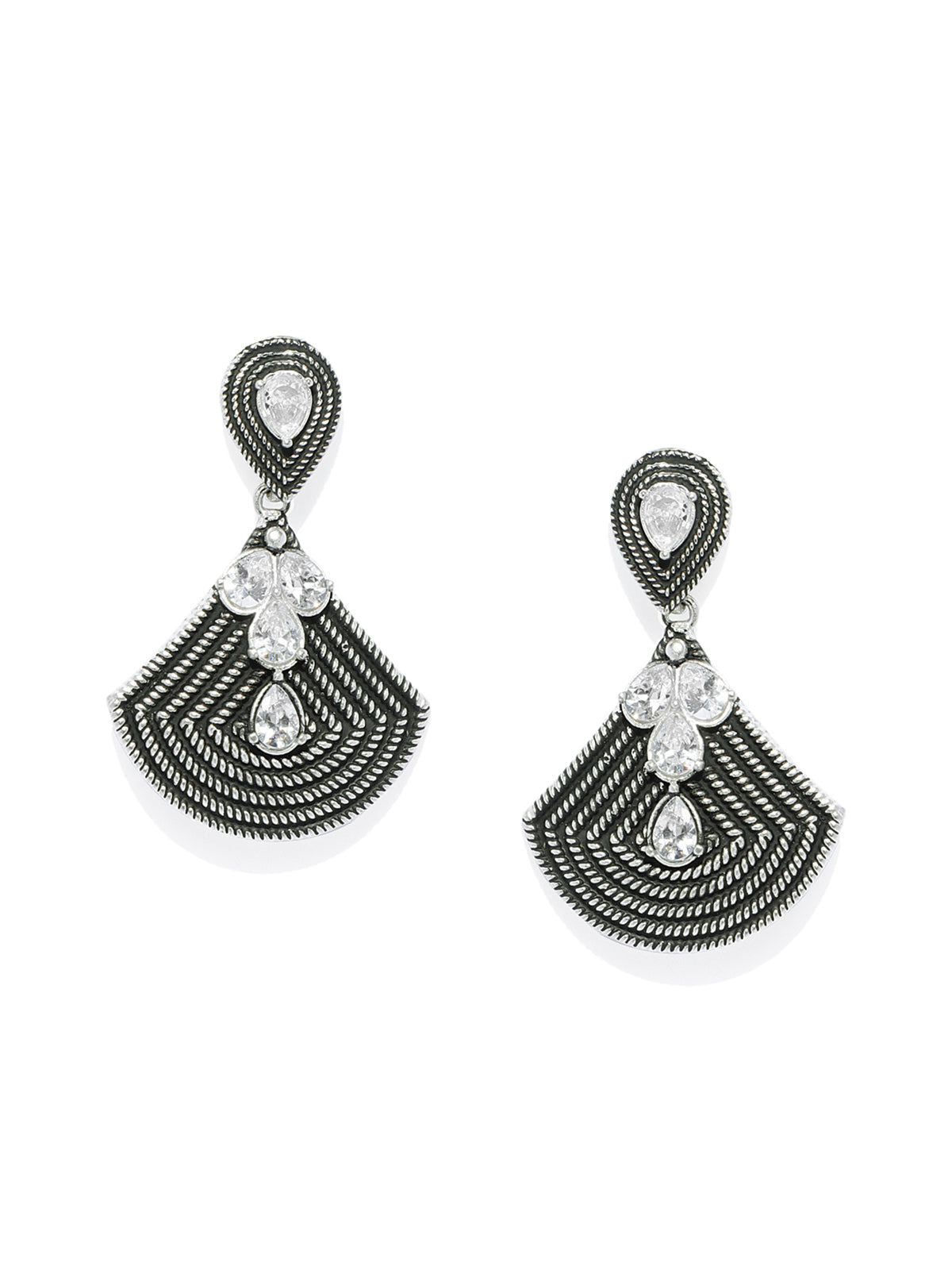 Zaveri Pearls Antique Silver Tone Austrian Diamonds Studded Dangler Earring