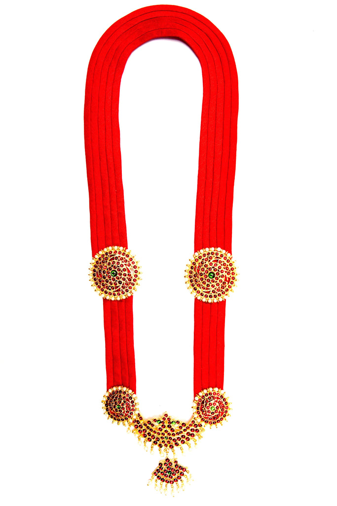 Red Color Full Shobha Contemporary Temple Necklace