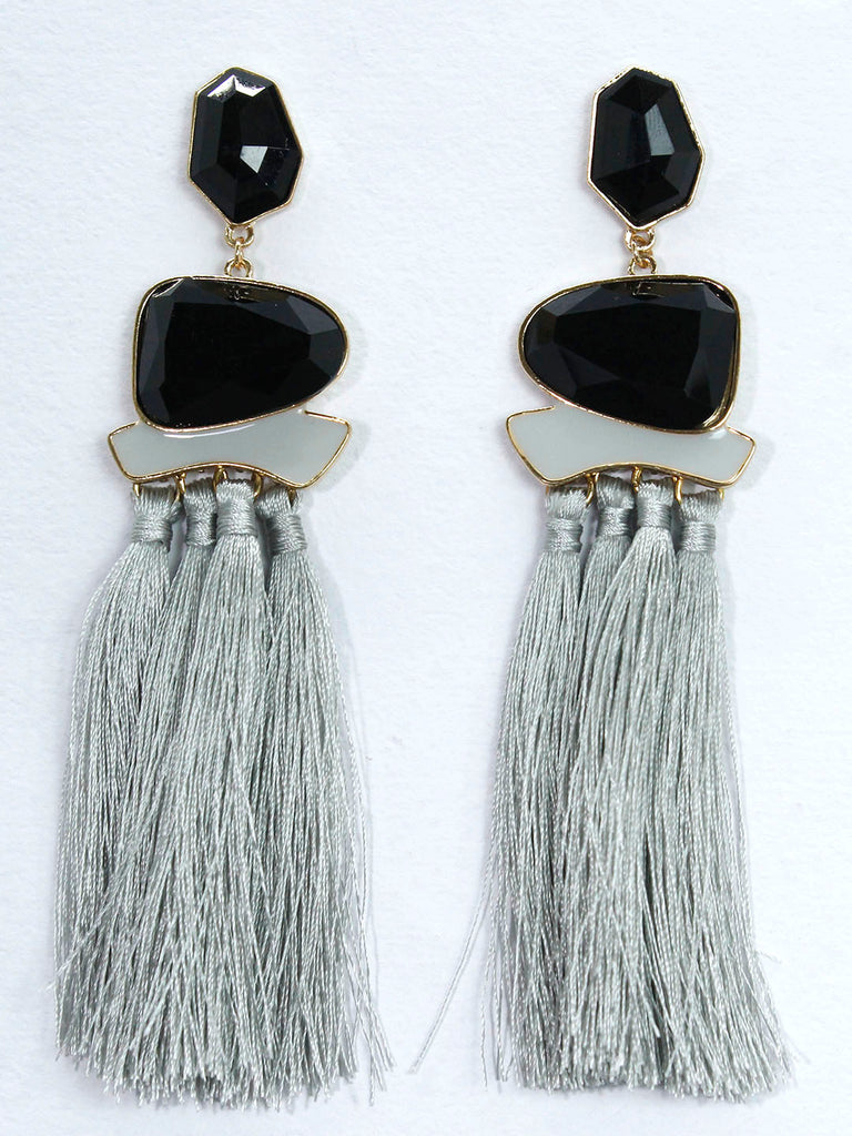 Aana Grey Color Tassel Stud Earring