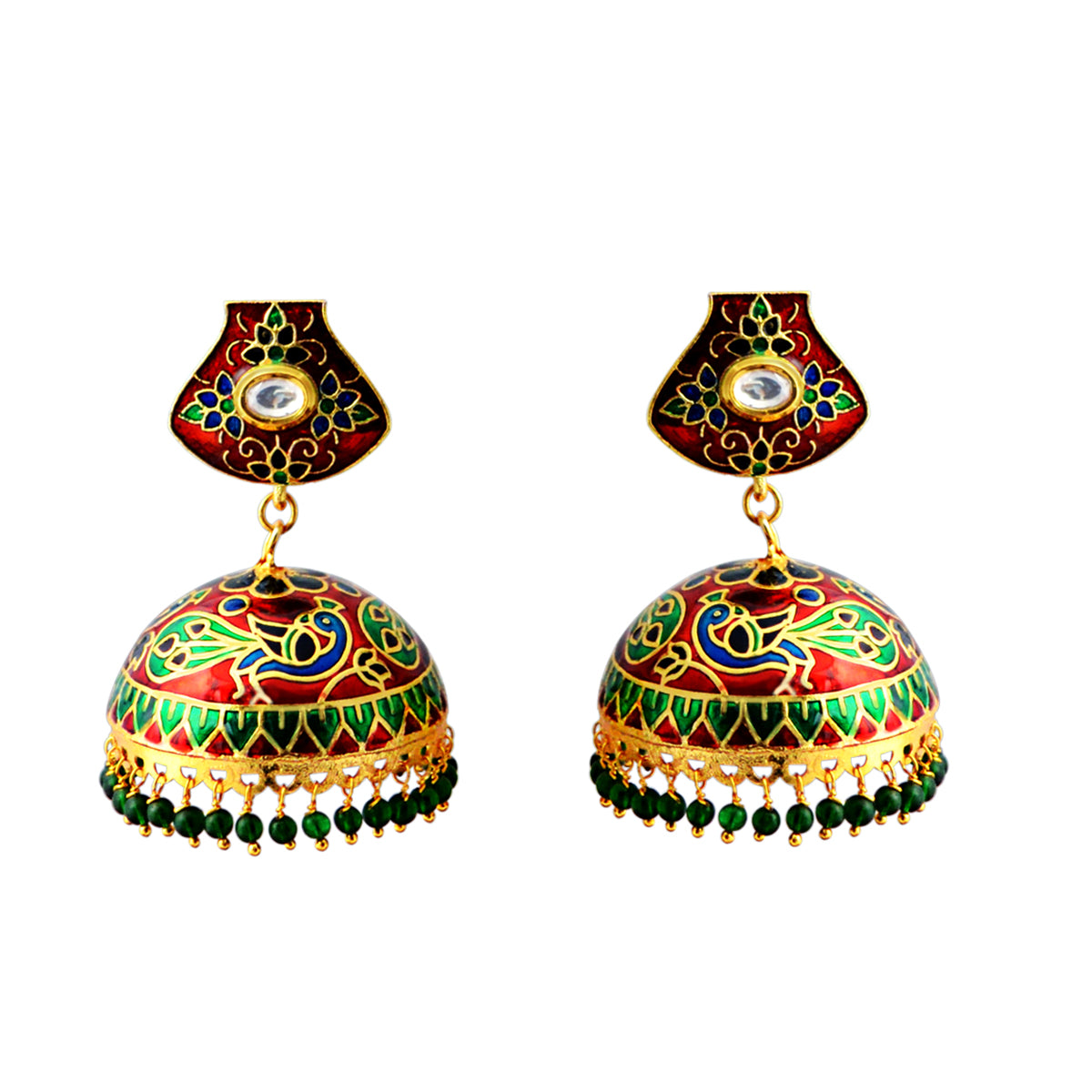 Bridal Wear Gold Plated With Kundan Stone Stud Earring