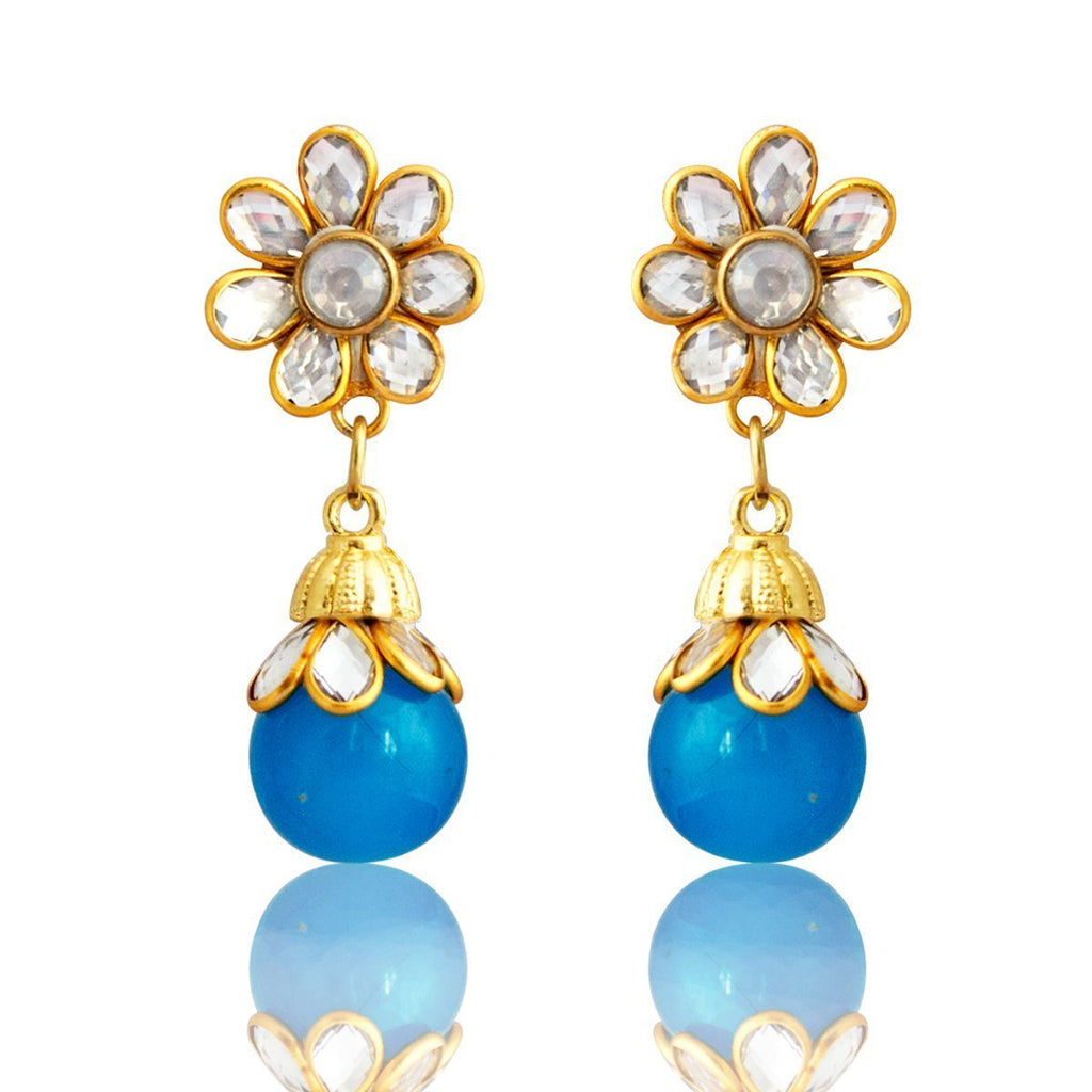 Latest Eid Ramadan Special Kundan Gold Plated Floral Shape Blue Drop Earring