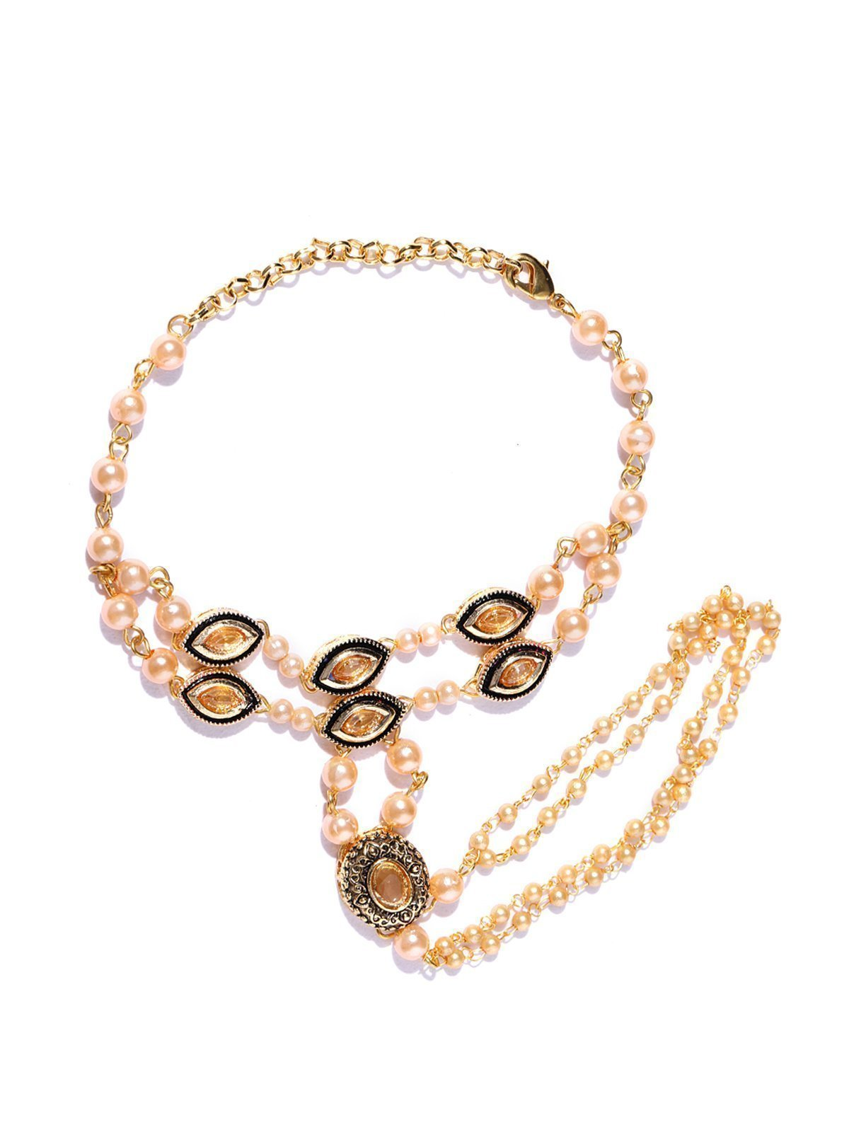 Zaveri Pearls Antique Gold Tone Traditional Haath Phool