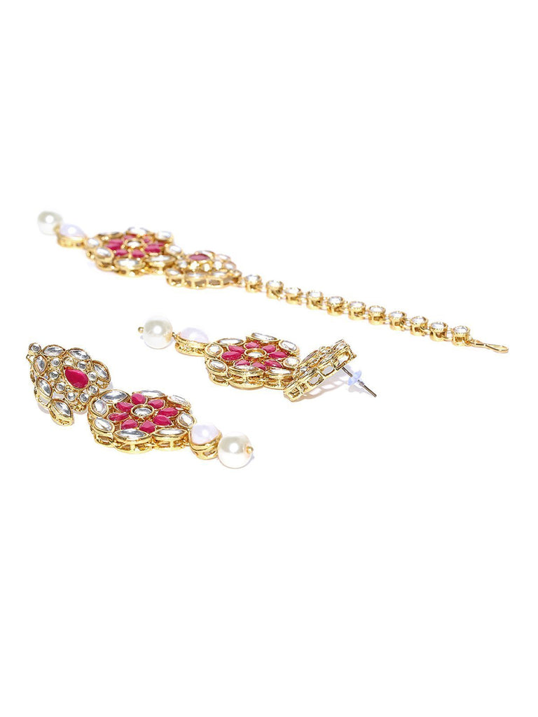 Zaveri Pearls Floral Kundan And Pearls Bridal Necklace Set