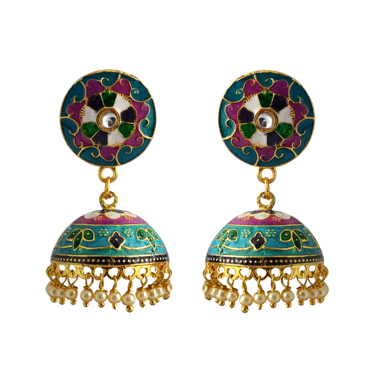 Mk Jewellers Sky Blue And Pink Color Meenakari Jhumka Earring-MK JEWELLERS1-Earring