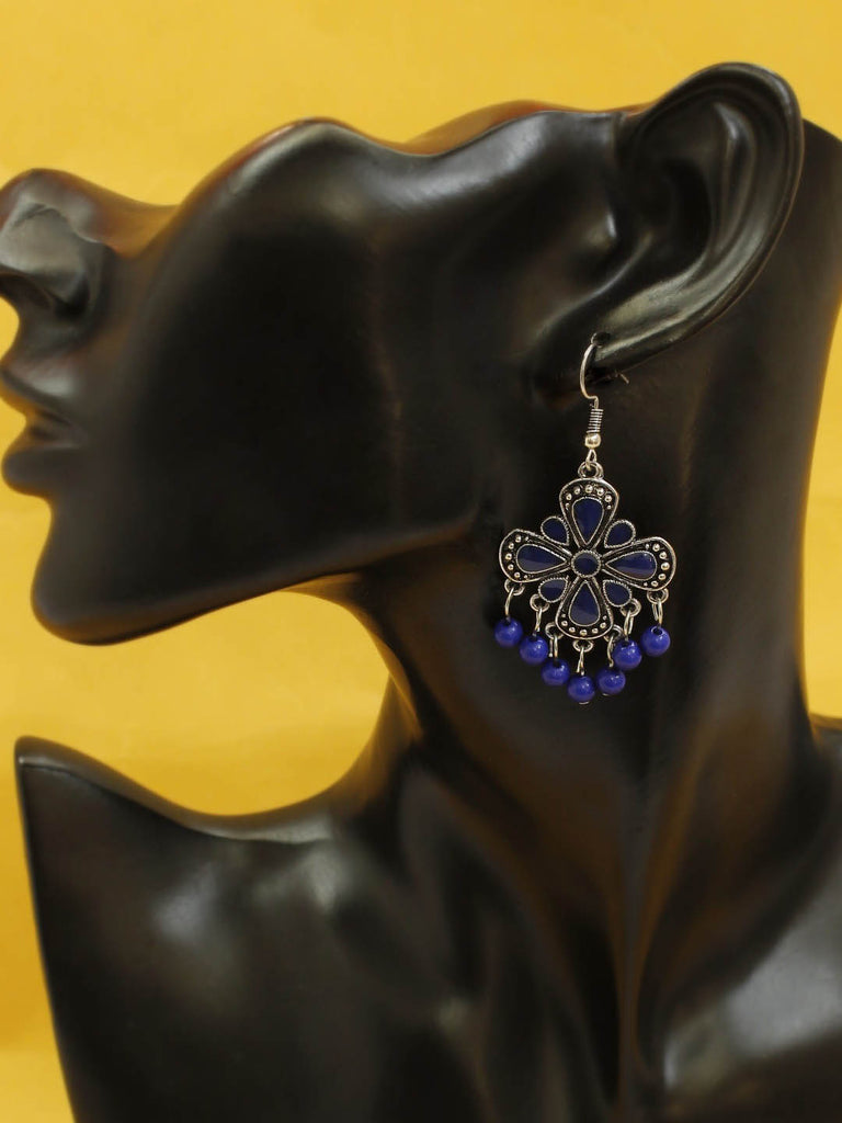 Silver Plating Blue Color Geometric Design Afghani Earring By Aana-AANA-Earring