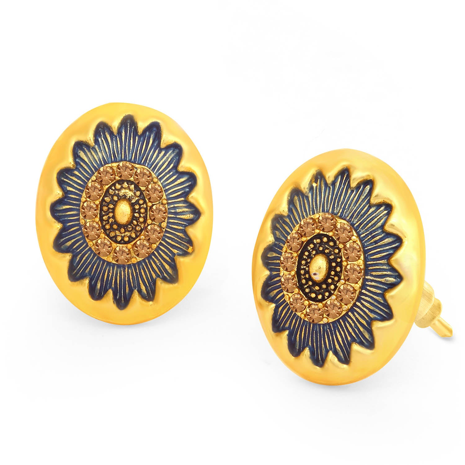 Sukkhi Glimmery LCT Stone Gold Plated Floral Blue Mint Meena Collection Stud Earring For Women-SUKKHI1-Earring