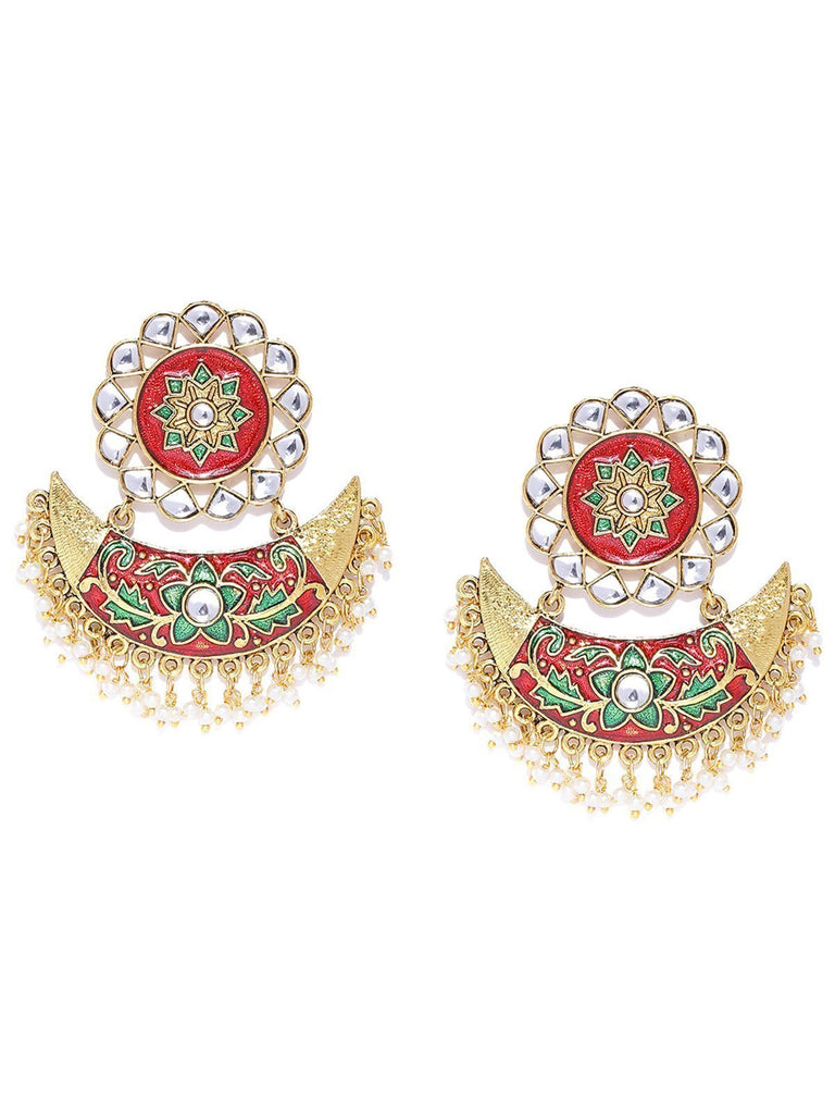 Zaveri Pearls Gold Tone Beautifully Enamelled Dangle And Drop Earring