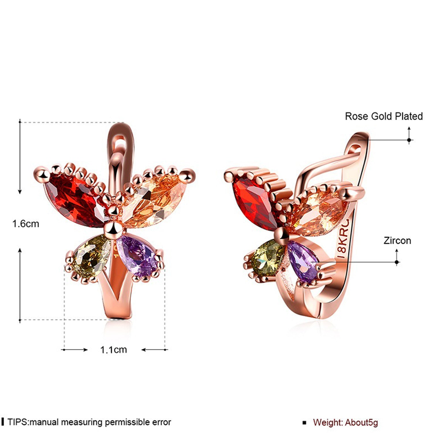 Sukkhi Trendy Butterfly Crystal Multi Colour Gold Plated Earring for Women-SUKKHI1-E81127