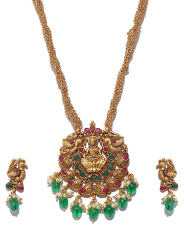 Pretty High Quality Lakshmi And Peacock Design Necklace Set