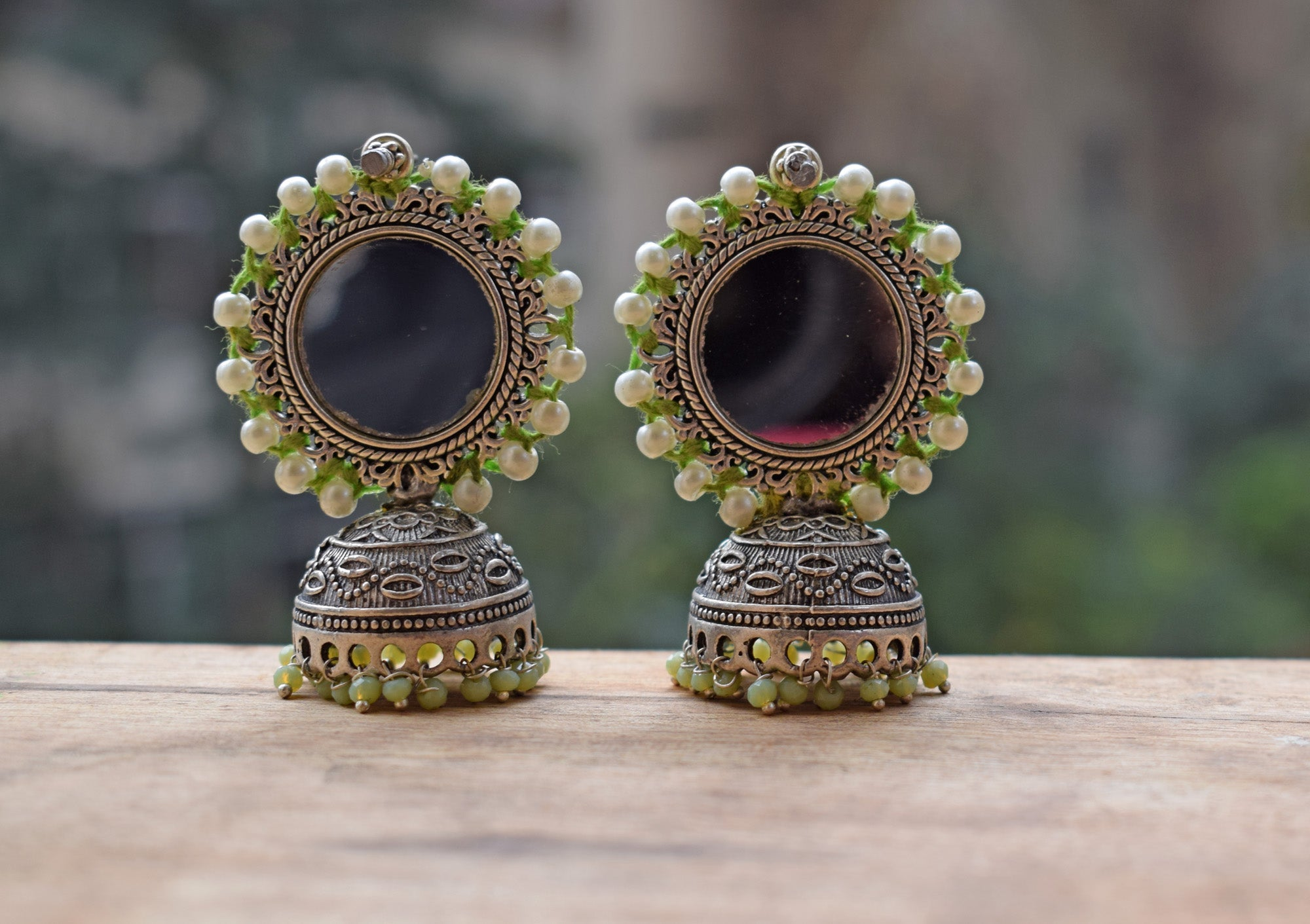 lime Color Mirror Jhumka Earring-ANETRA1-Earring