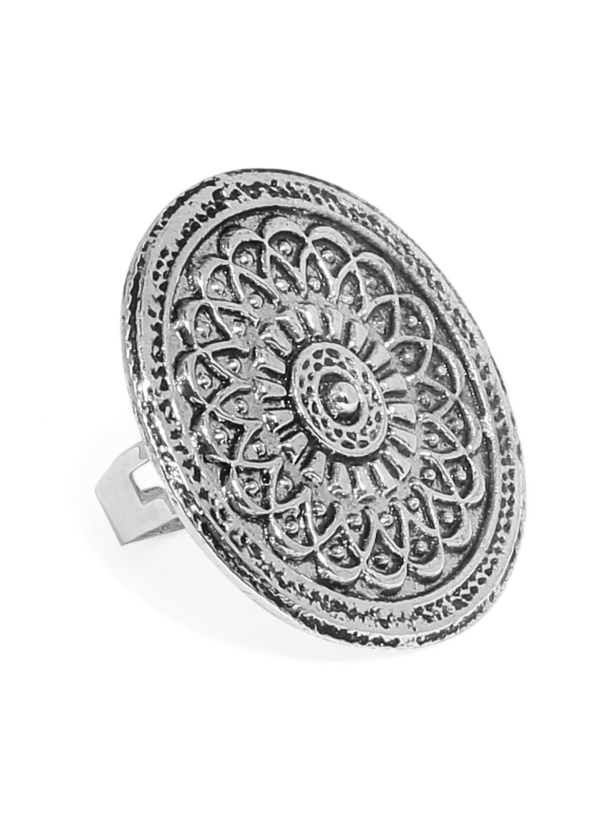 Antique Silver Tone Intricately Designed Finger Ring
