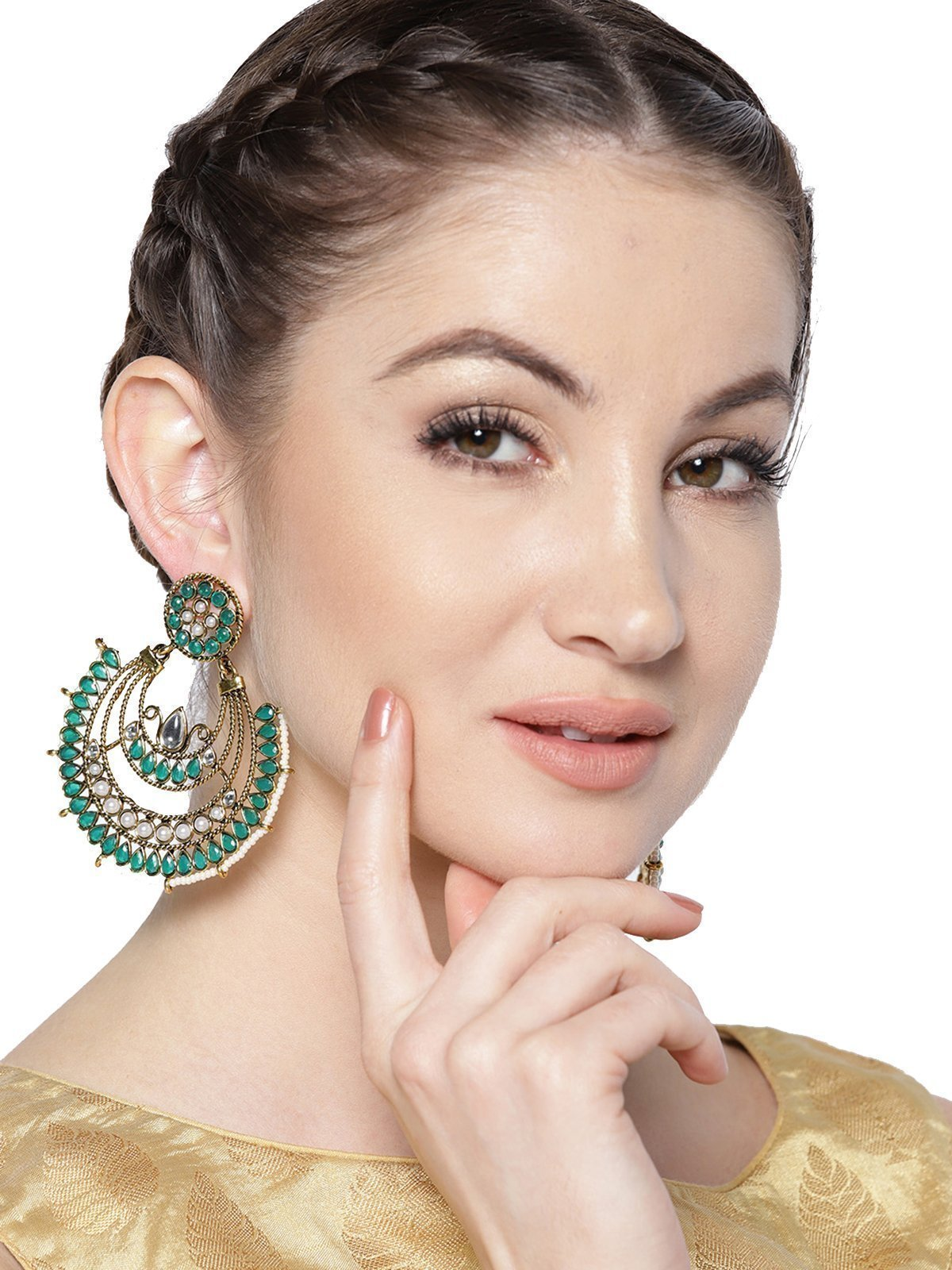Zaveri Pearls Gold Tone Traditional Dangle Earring