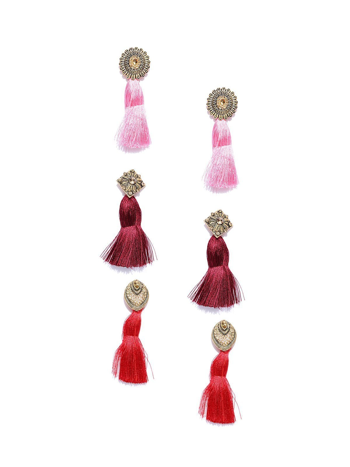 Zaveri Pearls Combo Of 3 Antique Gold Tassel Earring