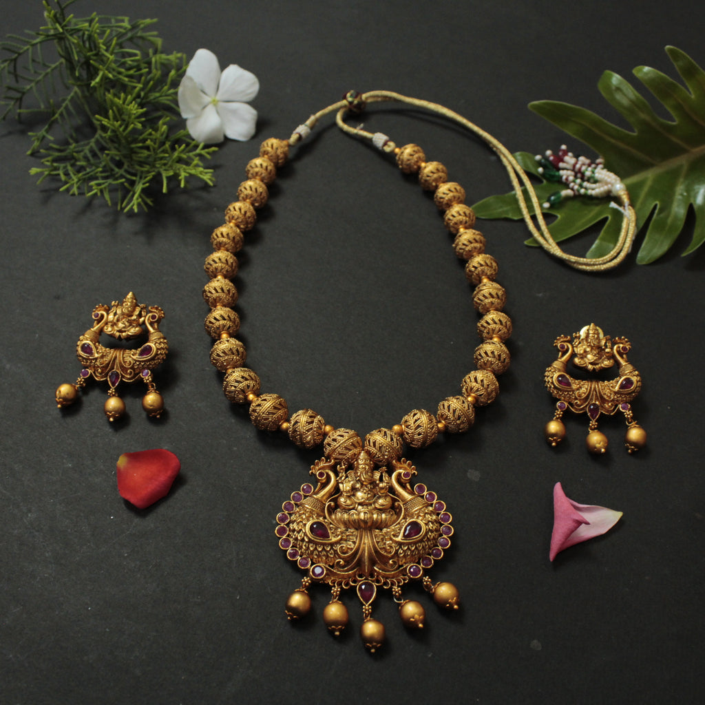 Antique Gold Ganesha Design Matt Finish Long Necklace Set