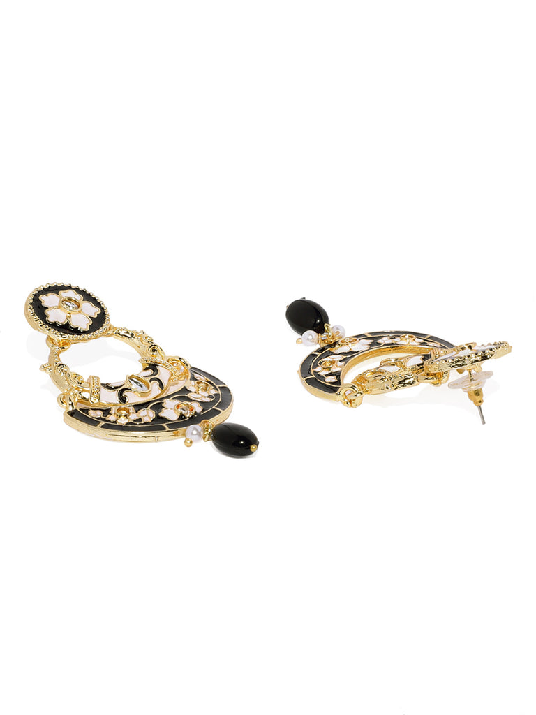Zaveri Pearls Gold Tone Enamelling Traditional Dangler Earring