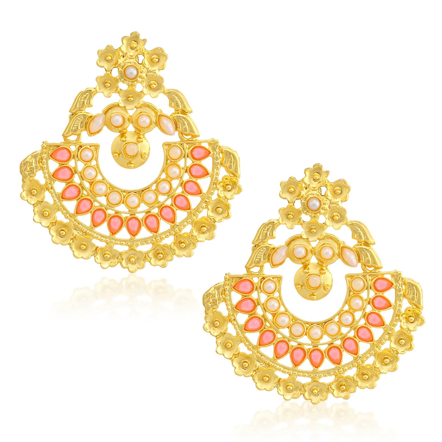 Sukkhi Glimmery Pearl Gold Plated Floral Chandbali Earring For Women-SUKKHI1-Earring