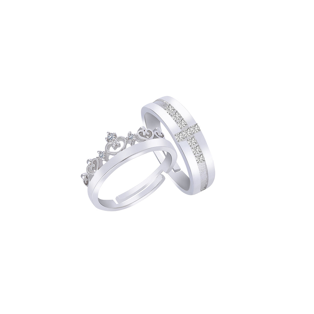 King and Queen Silver Couple Ring-THE BLING STORES1-Finger Ring