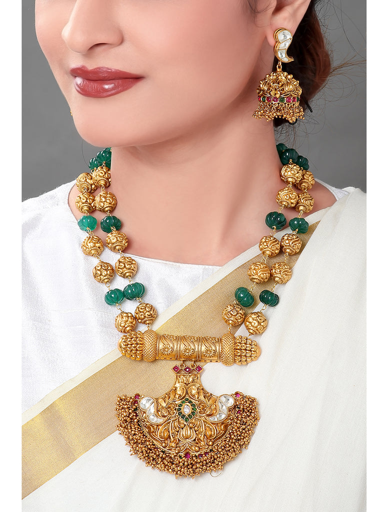 Joules By Radhika Two Layered Gold Plated Temple Design Pendant Green Color Onyx Beads Long Necklace Set-JOULES BY RADHIKA-Necklace Set
