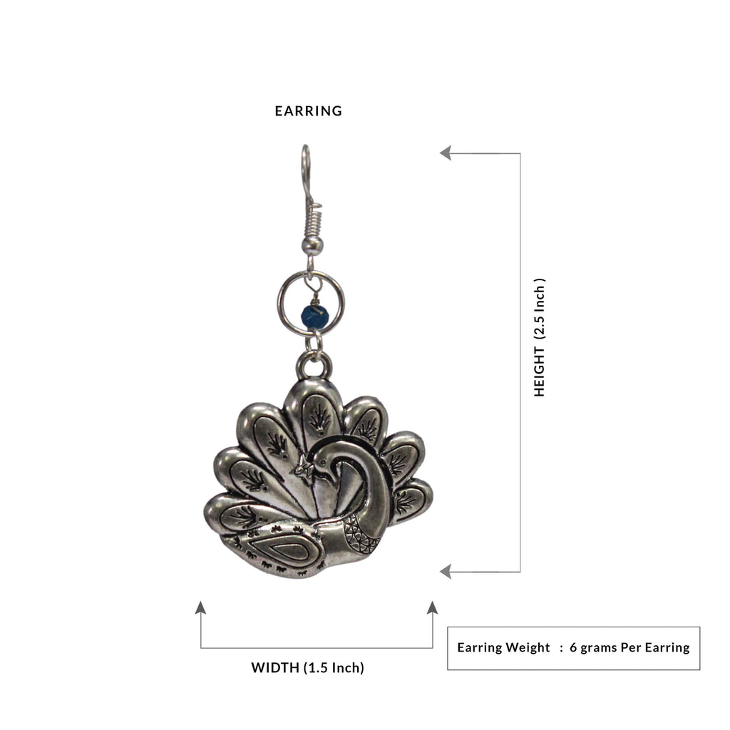 Peacock Design German Silver Oxidized Earring
